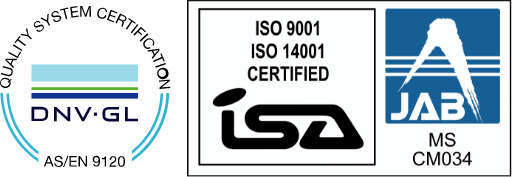 QUALITY SYSTEM CERTIFICATION DNV-GL / ISO9001 ISO14001 CERTIFIED ISA / JAB MS CM034